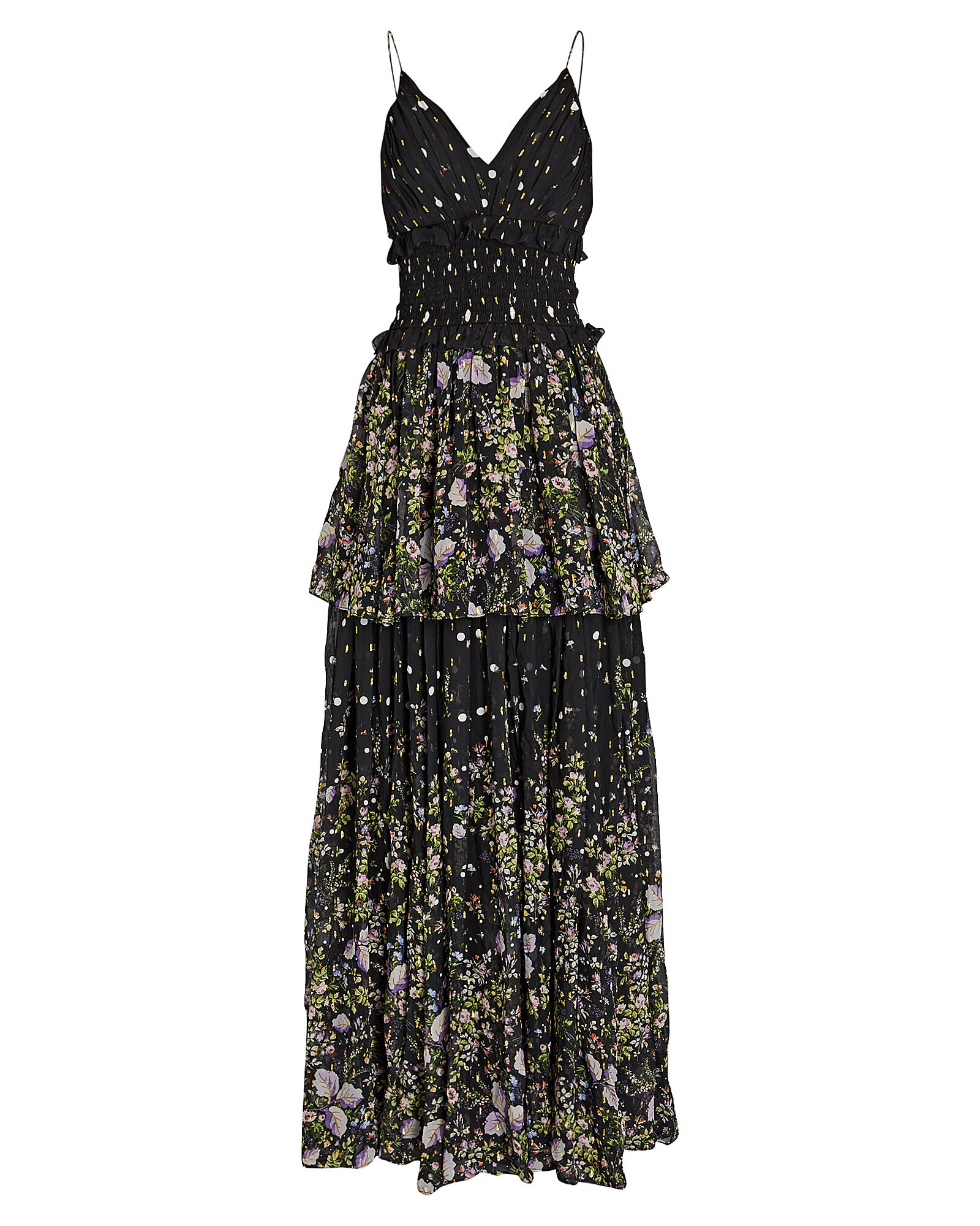Mariposa Sleeveless Tiered Gown, BLACK, hi-res
