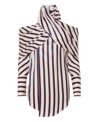 Pinstriped Wrap Neck Top, MULTI, hi-res