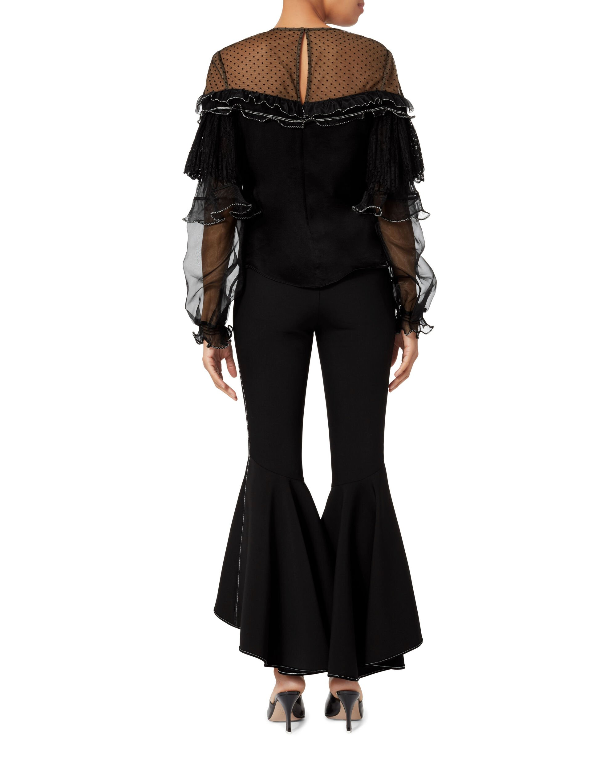 Pleated Trim Blouse, BLACK, hi-res