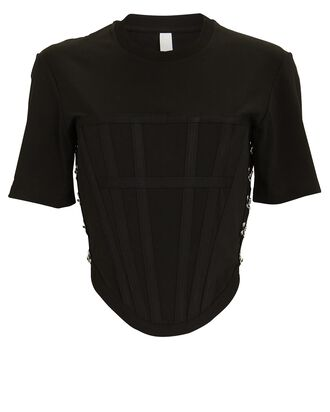 Crewneck Corset T-Shirt, BLACK, hi-res