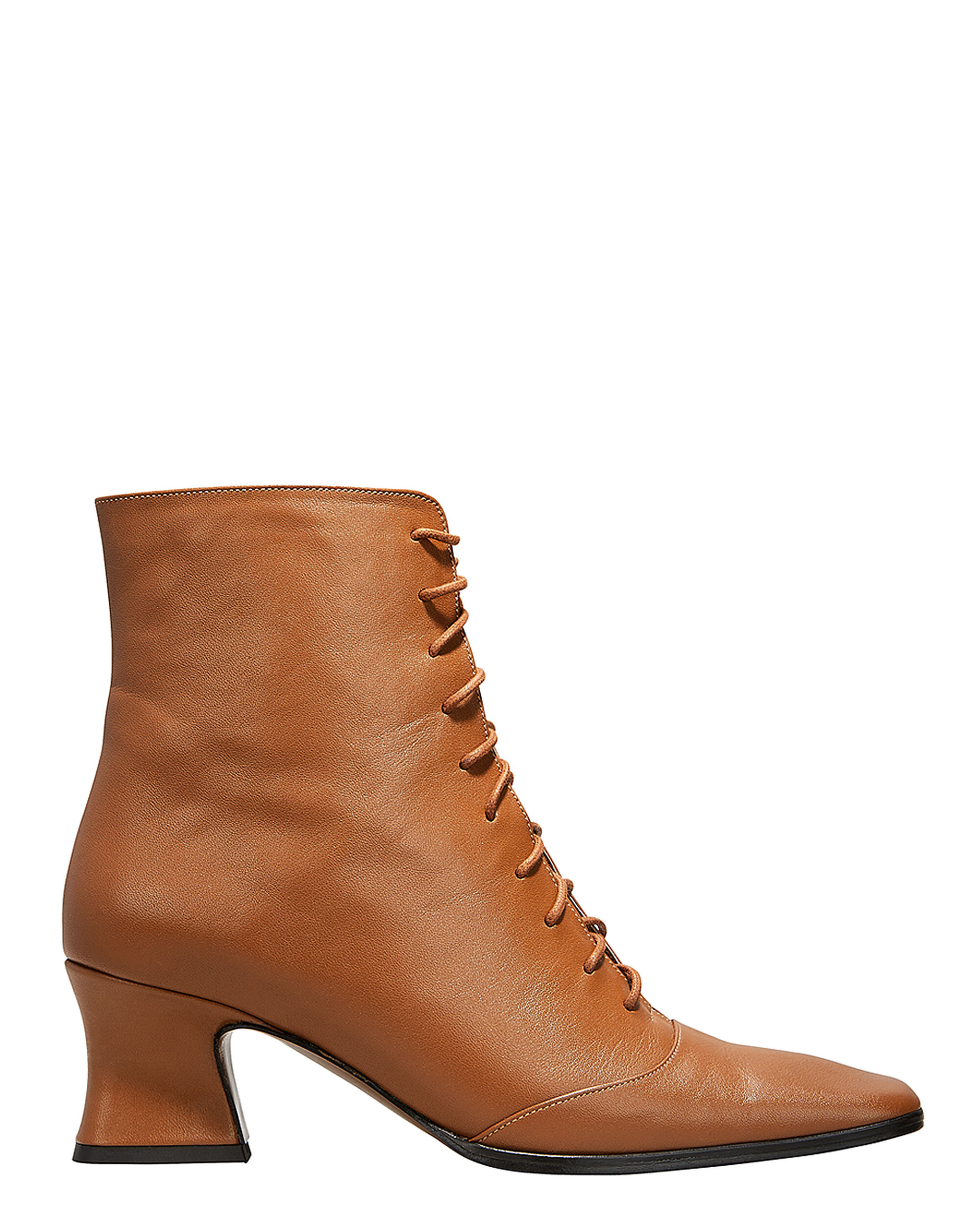 Kate Lace-Up Booties, BROWN, hi-res