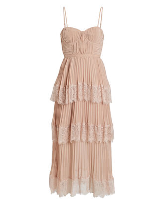 Chiffon Lace-Trimmed Midi Dress, BLUSH, hi-res