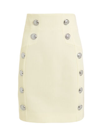 High-Waist Grain De Poudre Skirt, IVORY, hi-res