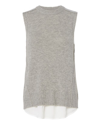Husky Layered Split Back Tank, GREY, hi-res