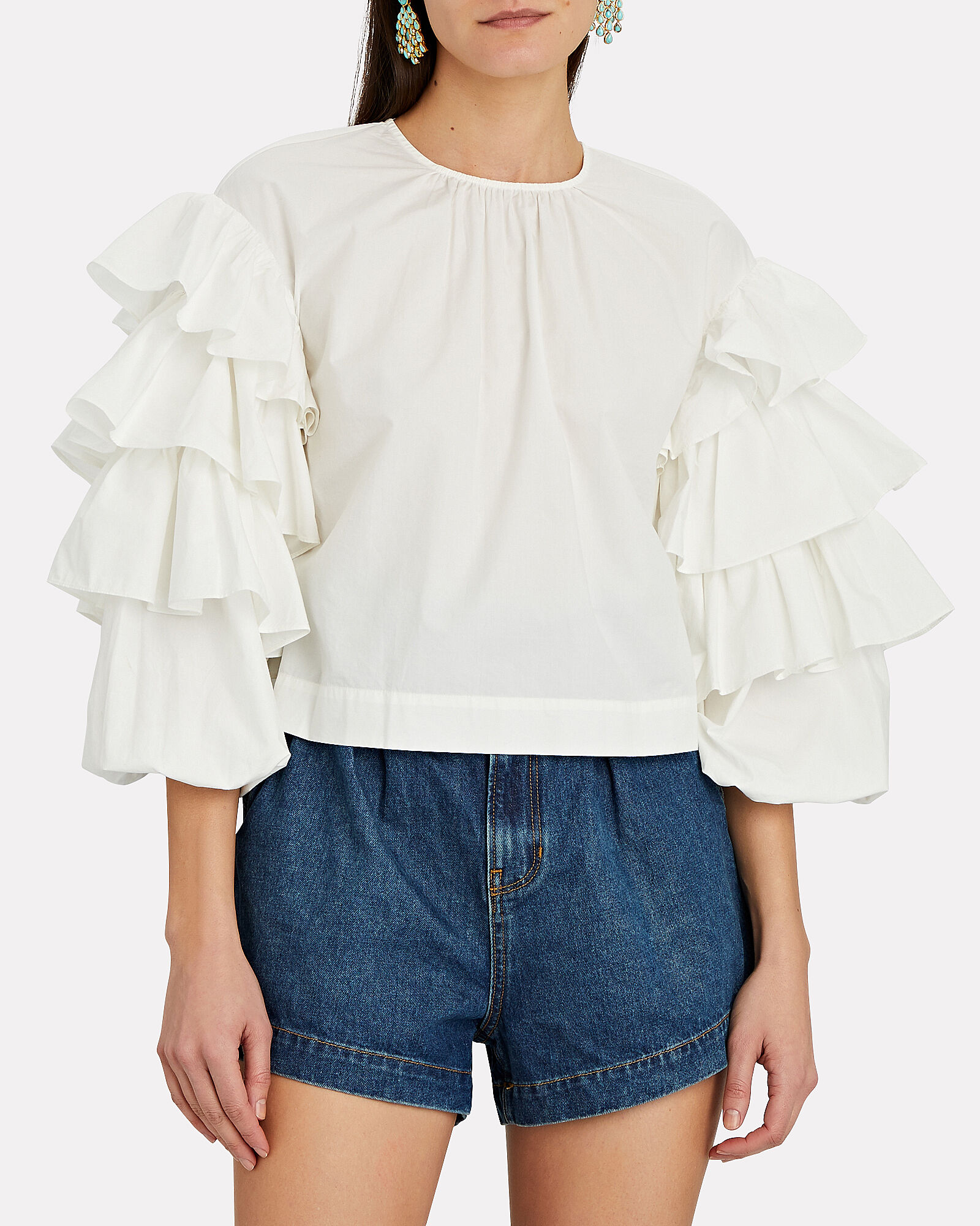 Tulia Tiered Sleeve Poplin Blouse, WHITE, hi-res
