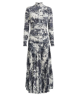 Ruched Forest Print Jersey Dress, NAVY/WHITE, hi-res