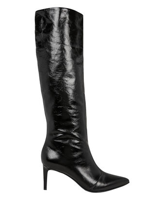 Beha Black Leather Boots, BLACK, hi-res