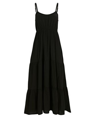 Ali Cotton Gauze Midi Dress, BLACK, hi-res