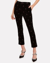 Perfect Heart-Embroidered Velvet Trousers, MULTI, hi-res