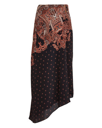 Elvira Paisley Chiffon Skirt, BLACK/RED PAISLEY, hi-res