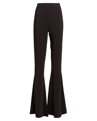 High-Rise Flared Crepe Pants, BLACK, hi-res