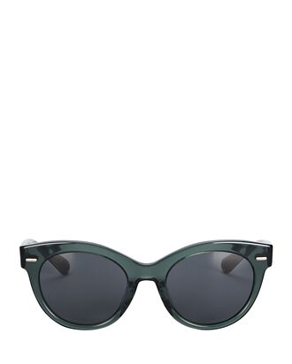 Georgica Cat Eye Sunglasses, GREEN, hi-res