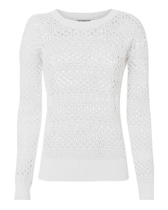 Natalia Open Knit White Sweater, WHITE, hi-res