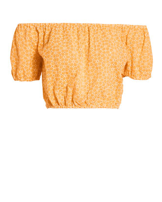 Leandra Daisy Eyelet Crop Top, ORANGE, hi-res