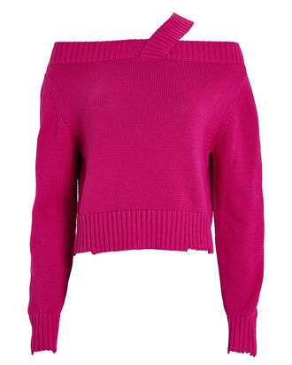 Beckett Knit Cotton Sweater, MAGENTA, hi-res