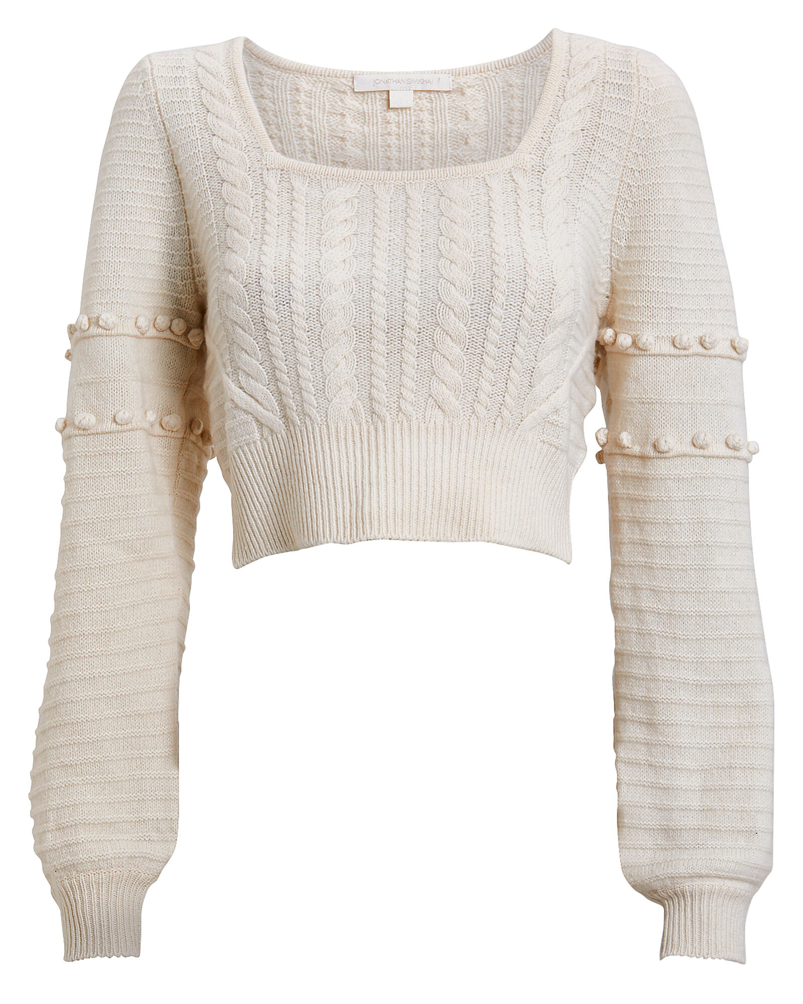 Cropped Wool Cable Knit Sweater, IVORY, hi-res