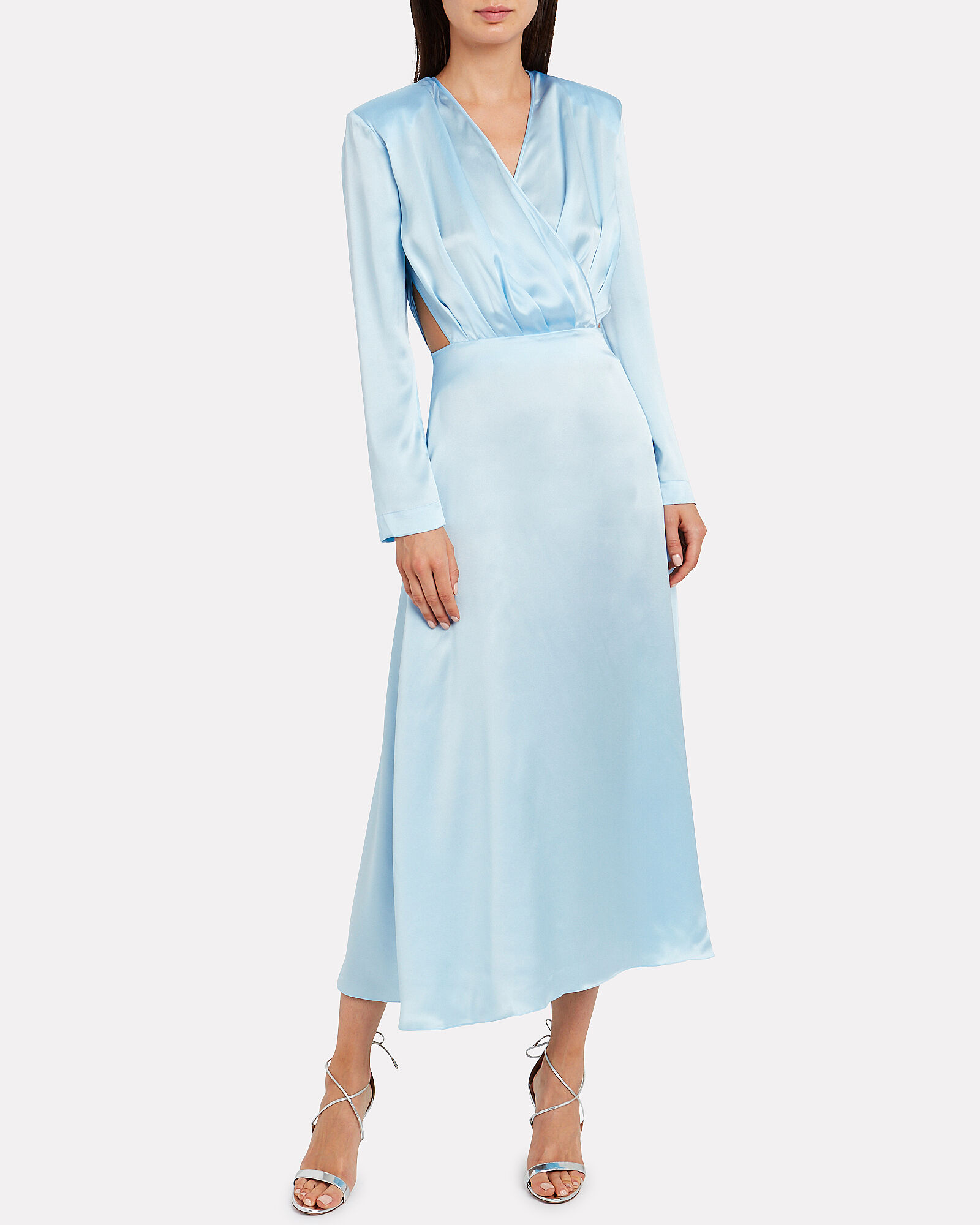 Satin Cut-Out Long Sleeve Dress, BLUE-LT, hi-res