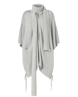 Wrap Knit Poncho, GREY, hi-res