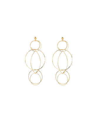 Torsade Circle Link Earrings, GOLD, hi-res