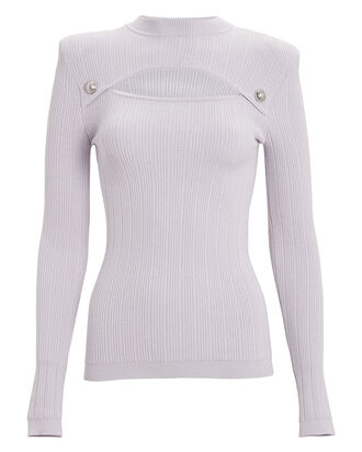 Embellished Cut-Out Ribbed Top, LILAC, hi-res
