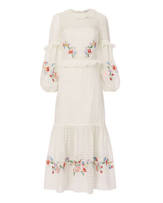 Adeline Wreath Embroidered Midi Dress, IVORY, hi-res