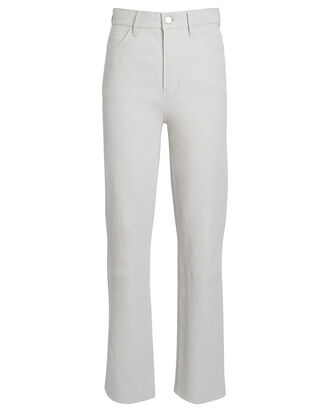 Jules High-Rise Leather Jeans, IVORY, hi-res