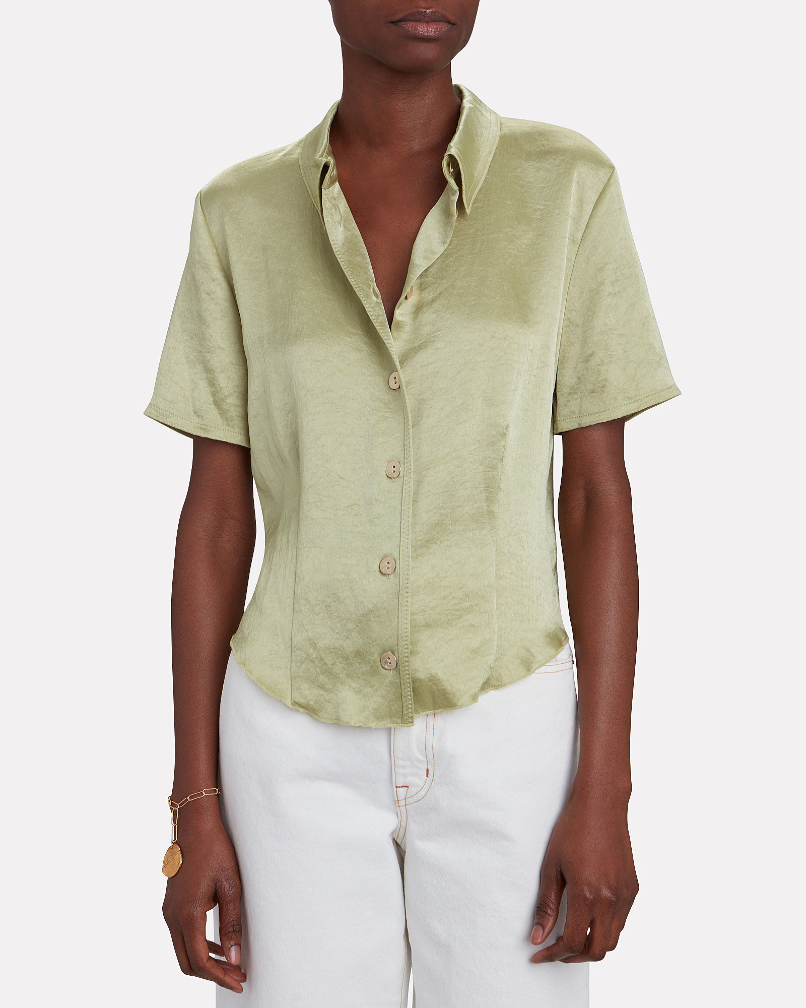 Clare Short Sleeve Button Down, PALE GREEN, hi-res