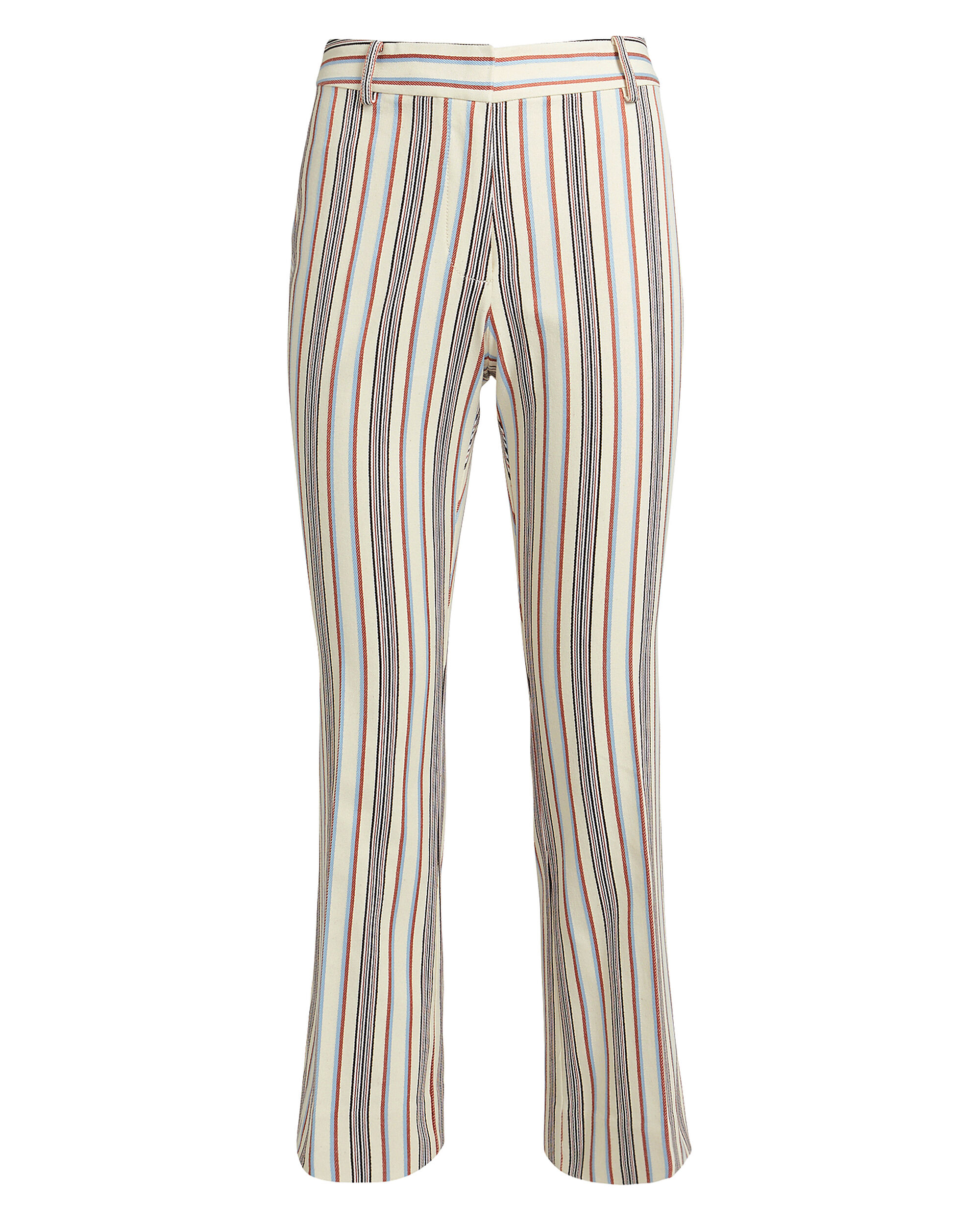 Striped Crop Flare Twill Trousers, IVORY/BLUE/RED, hi-res