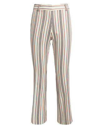 Striped Crop Flare Twill Trousers, IVORY, hi-res