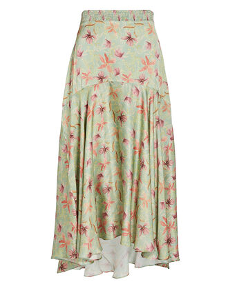 Bazli Floral Midi Skirt, PALE GREEN, hi-res