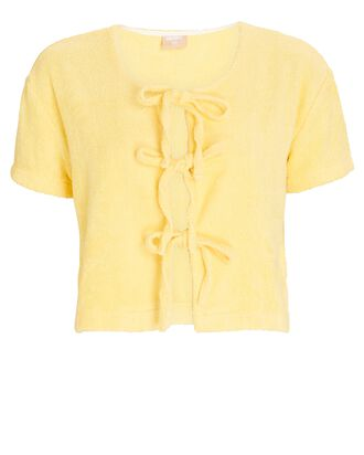 Tie-Front Cotton Terry T-Shirt, YELLOW, hi-res
