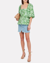 Floral Puff Sleeve Poplin Top, GREEN/WHITE FLORAL, hi-res