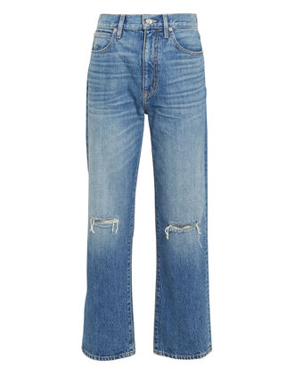London High-Rise Straight Jeans, MEDIUM WASH DENIM, hi-res