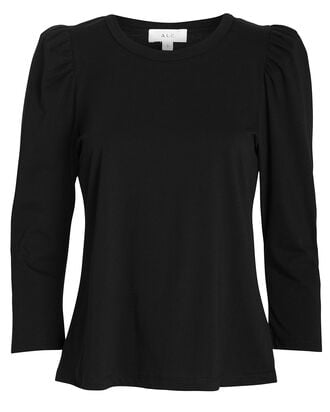 Karli Puff Sleeve Cotton T-Shirt, BLACK, hi-res