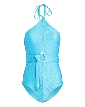 Blue Pearl Halter One-Piece Swimsuit, TURQUOISE, hi-res