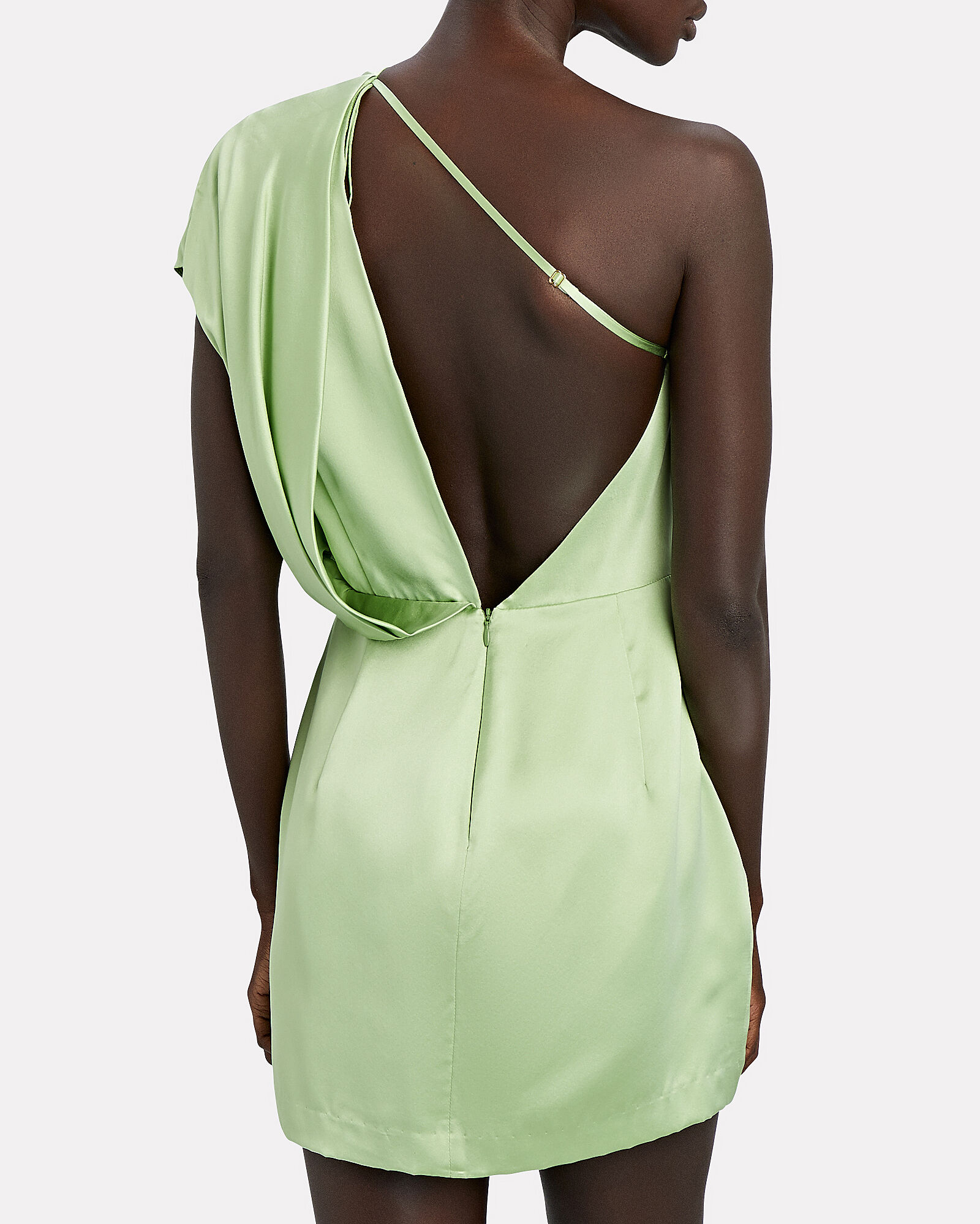 Silk One-Shoulder Mini Dress, , hi-res