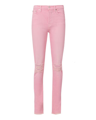 Pink Distressed Skinny Jeans, BLUSH, hi-res
