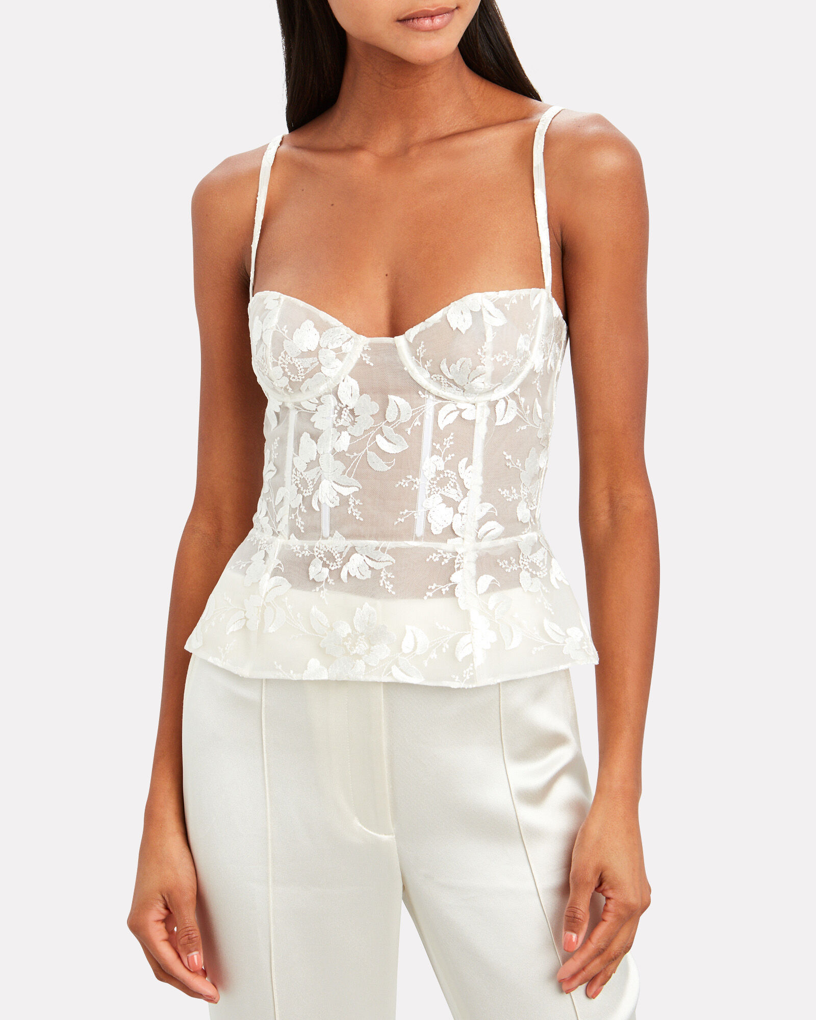 Floral Embroidered Bustier Top, WHITE, hi-res