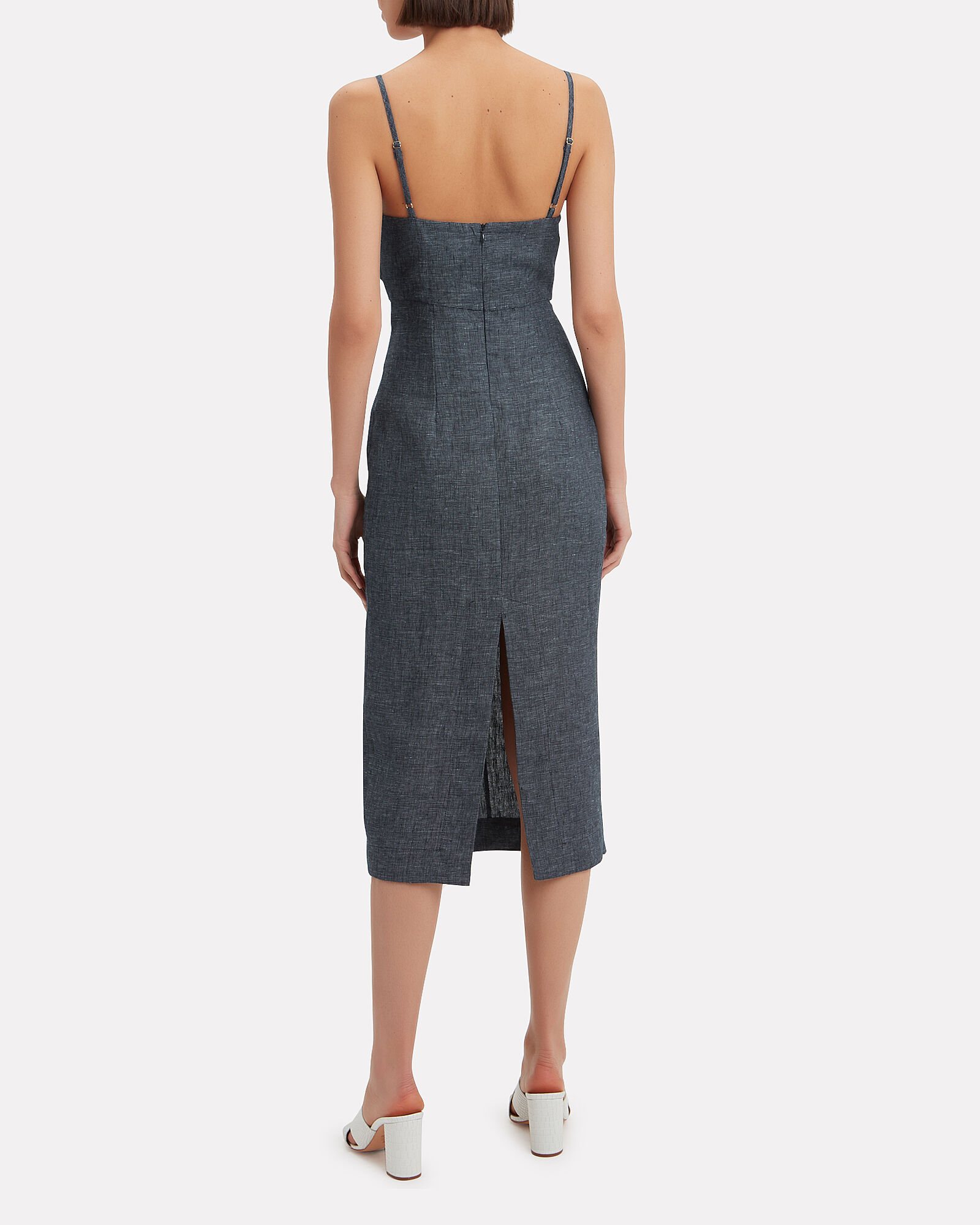 Cardozo Linen Dress, DENIM-DRK, hi-res