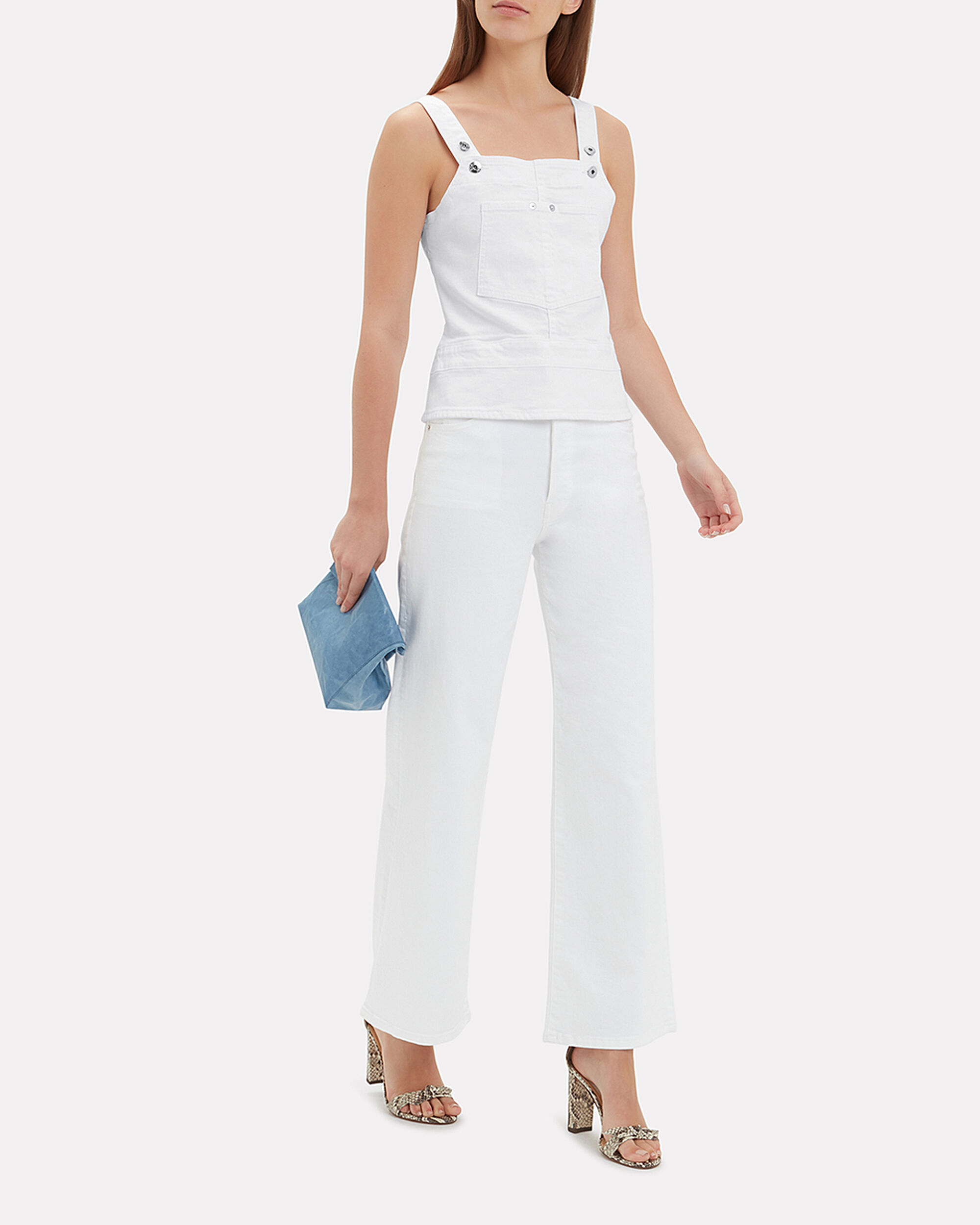 Clara White Denim Top, WHITE, hi-res