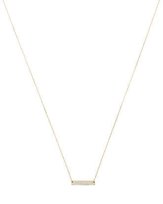 Pavé Super Tiny Stamp Necklace, GOLD, hi-res