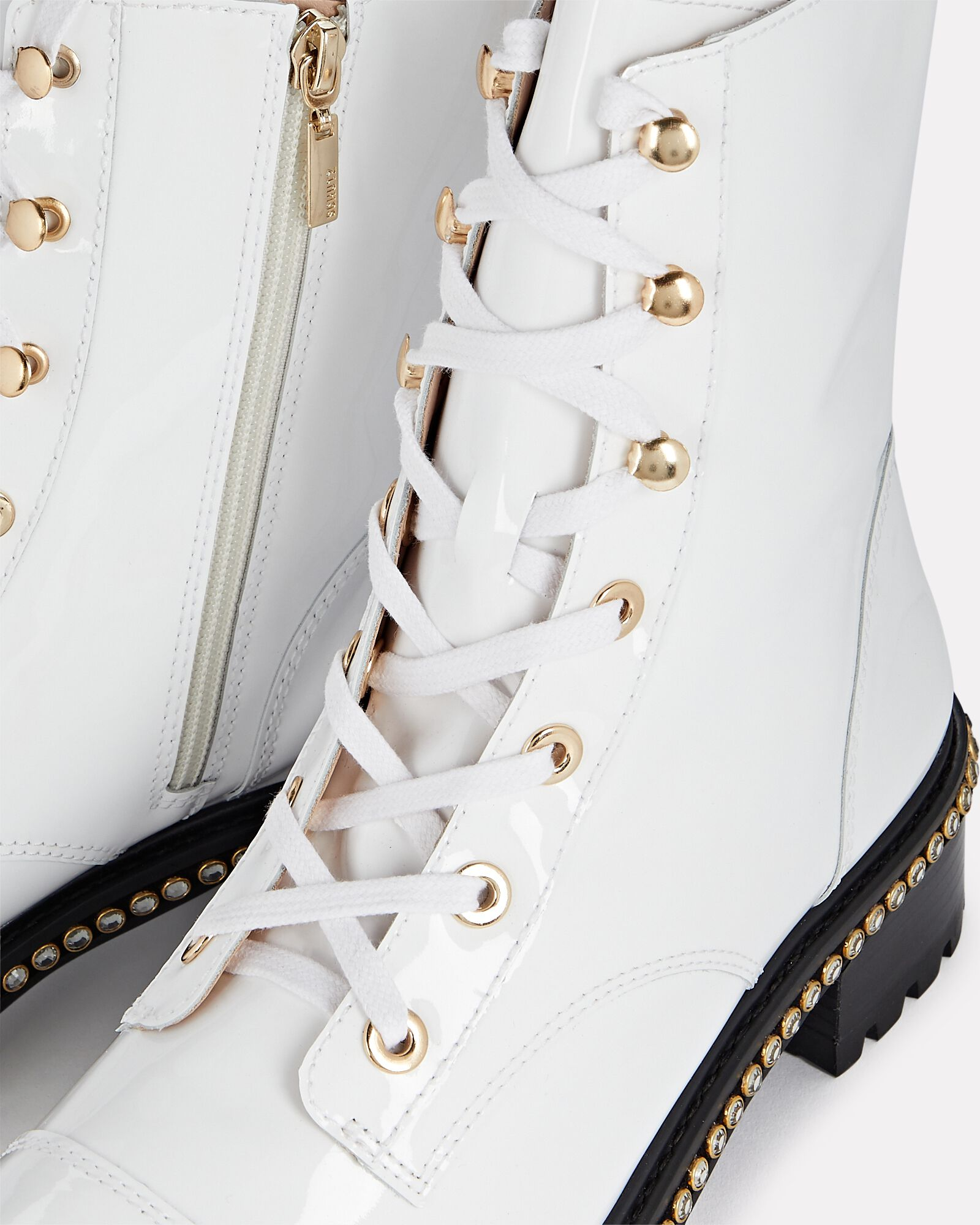 S-Andorra Patent Leather Combat Boots, WHITE, hi-res