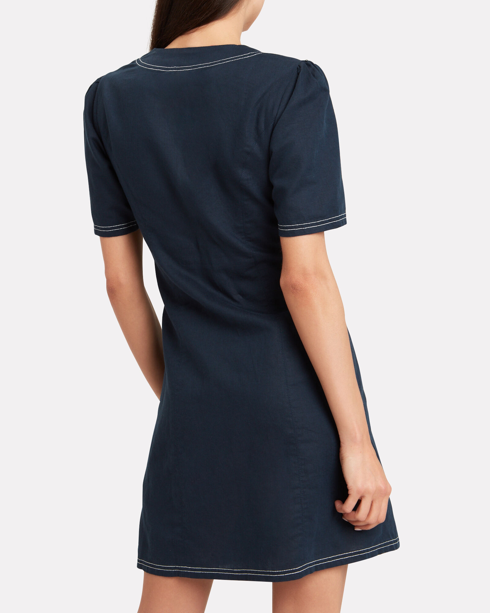 North Linen & Cotton Mini Dress, NAVY, hi-res
