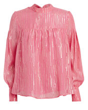 Ilse Silk Striped Blouse, PINK, hi-res