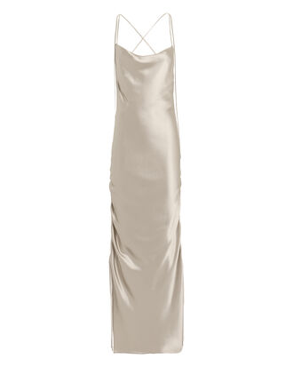 Yasmine  Silk Gown, Platinum, hi-res