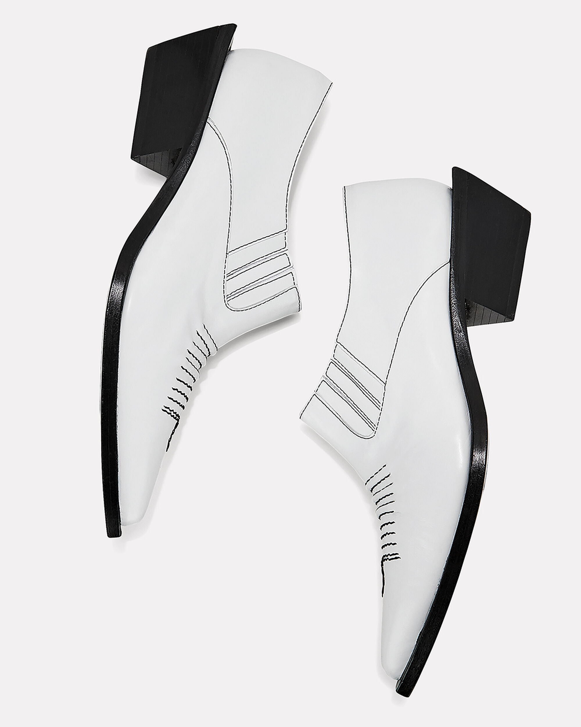 Dolores Western White Ankle Booties, WHITE, hi-res