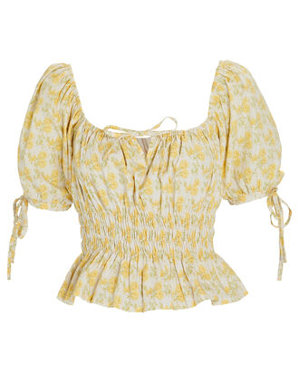 Edna Floral Puff Sleeve Top, MULTI, hi-res