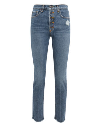 Faye Frayed Jeans, MEDIUM BLUE DENIM, hi-res