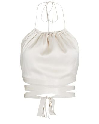 The Wrapped Up Silk Halter Top, IVORY, hi-res