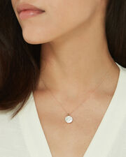 Mother of Pearl Pendant Necklace, ROSE GOLD, hi-res